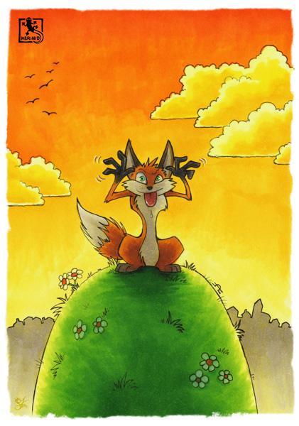 Der Fuchs auf dem Hügel