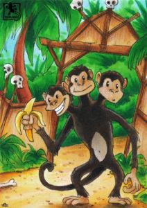 Dreiköpfiger Affe