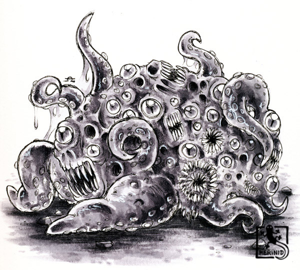 Cthulhu - Lovecraft - Tentakelmonster mit Copic-Markern - Version 3