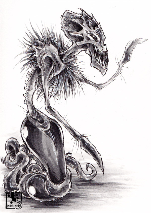 Cthulhu - Lovecraft - Tentakelmonster mit Copic-Markern - Version 4