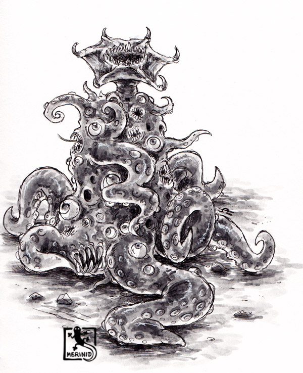 Cthulhu - Lovecraft - Tentakelmonster mit Copic-Markern - Version 6