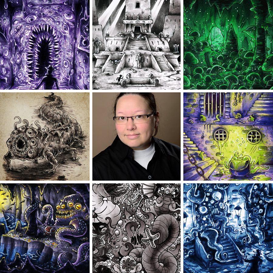 Eine Bildercollage von Merinid mit ihrem Foto und verschiedenen Motiven