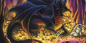 Ein Bild mit einem schwarzen Drachen auf einem Goldschatz