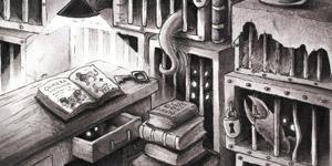 Ein Labor mit Büchern und Kreaturen in Schwarz-Weiß