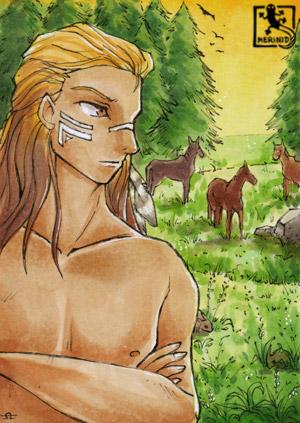 Ein junger Mann mit blondem Haar, der bei Sonnenuntergang auf eine Wildpferdeherde blickt