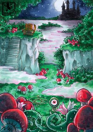 Im Vordergrund sind große rote Pilze und Dornengestrüpp, nach hinten hin wird es nebliger und hügeliger bis man schließlich am Horizont bei Mondenschein ein Schloss erkennt