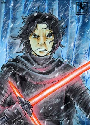 Ein wütend dreinblickender Kylo Ren mit Laserschwert im Schnee