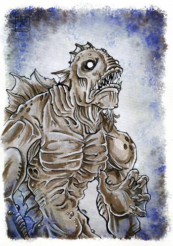 Inktober - Deep One - Tiefe Wesen