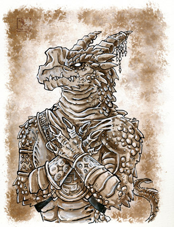 Inktober - Reptilian Inhabitant of the Nameless City 02