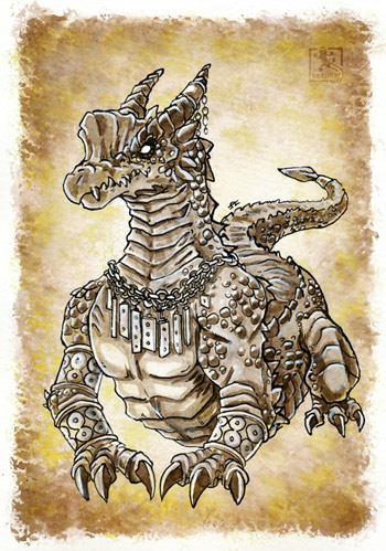 Inktober - Reptilian Inhabitant of the Nameless City 01